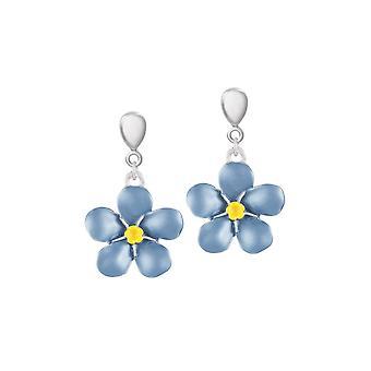 Ewige Sammlung Vergissmeinnicht blauer Emaille Silberfarbe Drop-Clip auf Ohrringe