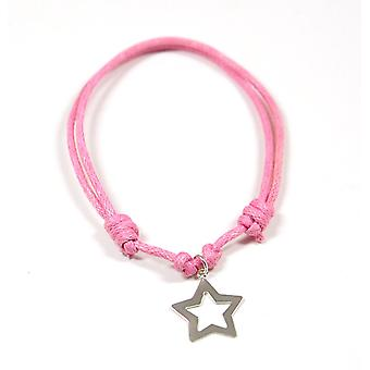 Jo For Girls Sterling Silver Star Charm Adjustable Pink Cord Bracelet
