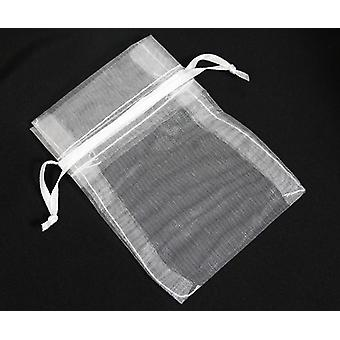 Draw String Organza Gift/Party/Wedding Bags 9cm x 12cm Pack Of 60 - Snow White - (WS630701)
