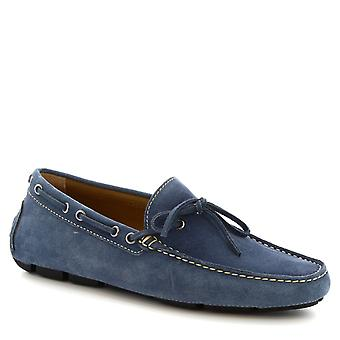 Leonardo Shoes Men's handmade driving loafers with laces in denim blue suede