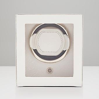 Wolf Designs 301853 Chloe Cream Leather Single Watch Winder 1.8 With Cover
