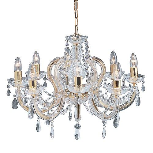 Searchlight 699-8 Marie Therese 8 Arm Polished Brass Chandelier With Crystal