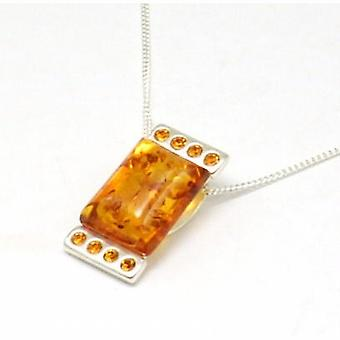 Toc Sterling Silver Rectangle Amber Pendant on 18 Inch Chain