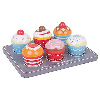 Bigjigs Toys Wooden Cup Cakes, Muffin Tray Pretend Role Play Food Kids Child