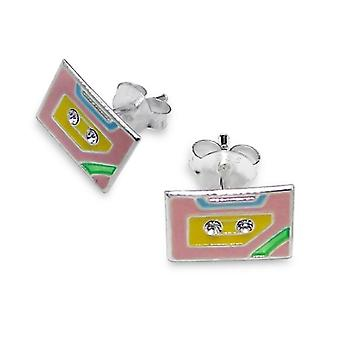 Sterling Silver and Crystal Tape Cassette Stud Earrings