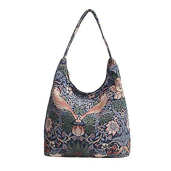 William morris - strawberry thief blue shoulder hobo bag by signare tapestry / hobo-stbl