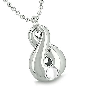 Amulet Infinity Magic Symbol Eternity Powers White Simulated Cats Eye Pendant 22 Inch Necklace