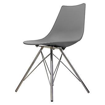Fusion Living Iconic Mid Grey Chaise à manger en plastique avec chrome Metal Jambes