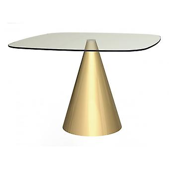 Gillmore Space Large Square Clear Glass Dining Table With Conical Brass Base