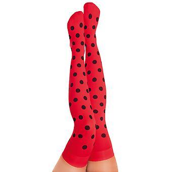 Overknees Ladybug red with black dots, 70DEN