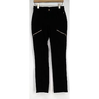 Denim & Co. Straight Leg Pants with Zipper Detail Black A282387