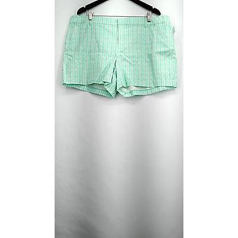 Attention Shorts Plus Khaki Zipper Button Front Geometric Aqua Blue