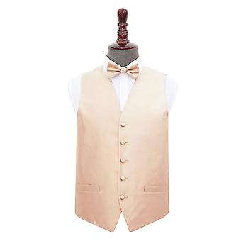 Champagne Solid Check Wedding Waistcoat & Bow Tie Set