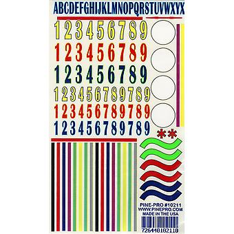 Pine Car Derby Decal Numbers & Stripes 5