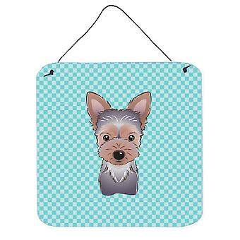 Checkerboard Blue Yorkie Puppy Wall or Door Hanging Prints BB1170DS66
