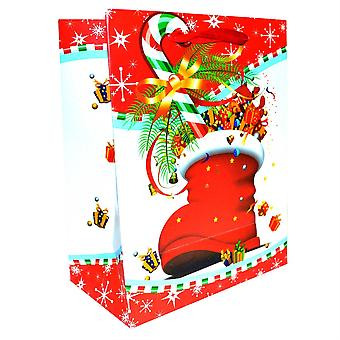 6 Pack of Small Luxurious Christmas Gift Bags Red StockingTheme Paper Bags
