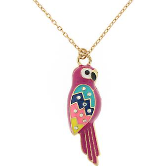 Gold Plated & Multicoloured Enamel Parrot Bird Pendant Necklace Chain