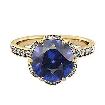 14K Yellow Gold 2.50 ctw Blue Sapphire Ring with Diamonds Flower Vintage Halo