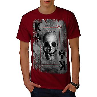 Poker Card Casino Skull Men Red T-shirt | Wellcoda