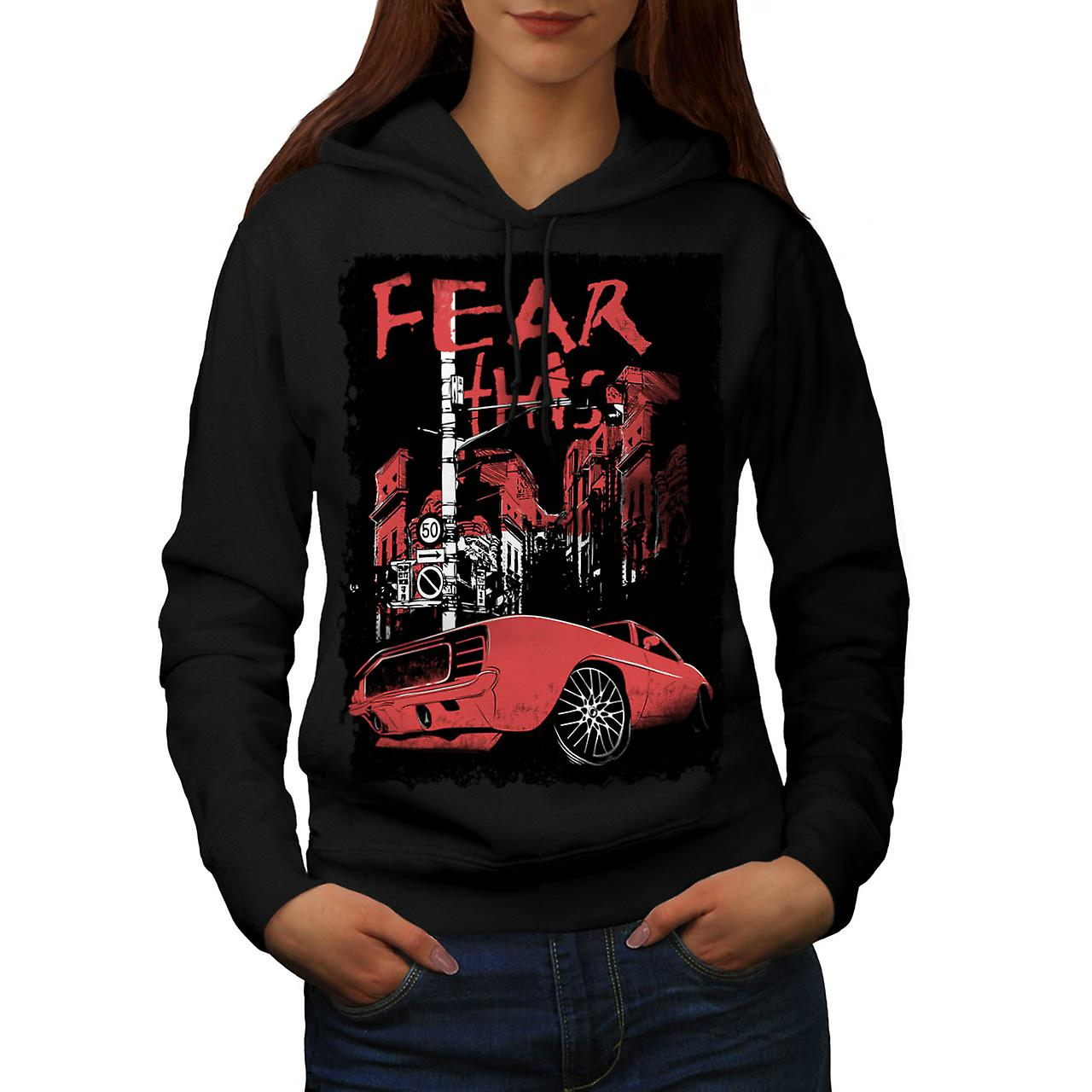Fear This Muscle Car Street Light Women Black Hoodie | Wellcoda