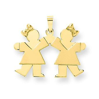 14k Gold Solid Engraveable Small Double Girls Charm