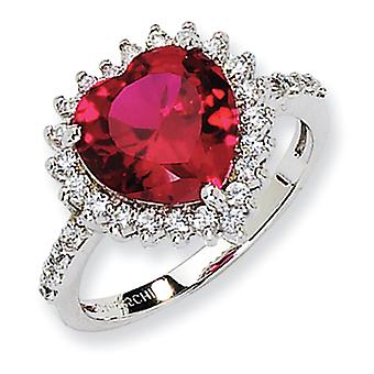 Sterling Silver 100-facet Synthetic Ruby and CZ Heart Ring - Size 6