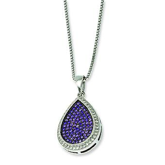 Sterling Silver Pave Spring Ring Rhodium-plated and Cubic Zirconia Brilliant Embers Necklace - 18 Inch