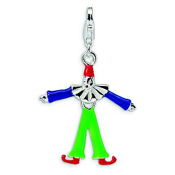 Sterling Silver Enamel Clown With Lobster Clasp Charm - 1.8 Grams - Measures 36x22mm
