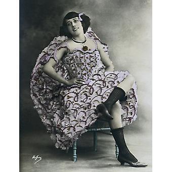 Mistinguette Jeanne Bourgeois kallas franska Music-Hall skådespelerska och sångerska porträtt av Mistinguette tagit i Paris 1906 privata samling AisaEverett samling affisch skriva ut