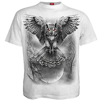 Spirale direkte Mens White Wings der Weisheit Tshirt Top Owl majestätischen Night Hunter