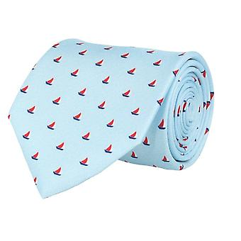 Marcell Sanders mens tie classic silk silk tie blue sailboats 8 cm
