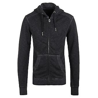 True Religion Black Marl LA Hooded Full Zip Sweatshirt