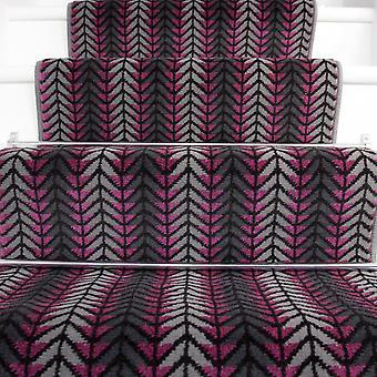 60cm bredde - moderne lilla Chevron trappe tæppe
