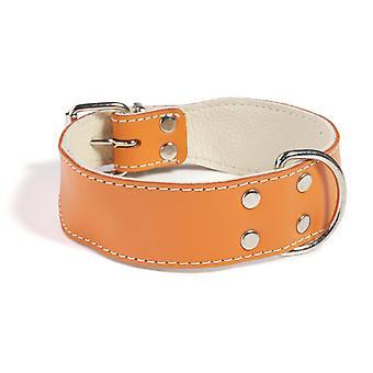 Doggy ting almindelig læder hund krave Orange 30cm