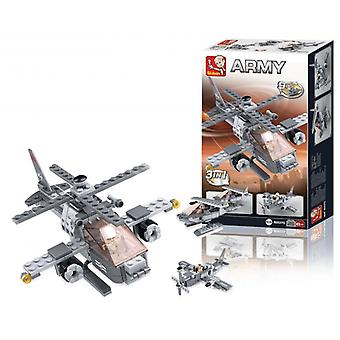 Sluban Building Blocks Series Aircraft Carrier Attack Helicopter 3-in-1