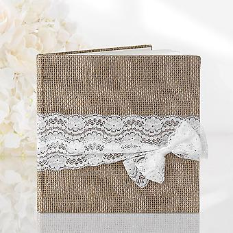 Hessian Wedding Guest Book, 22 pages with White Lace Detail - Rustic Wedding