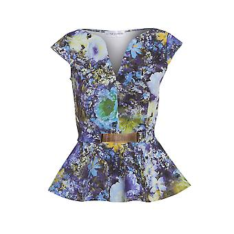 Love2Dress Floral Peplum Top With Gold Bar