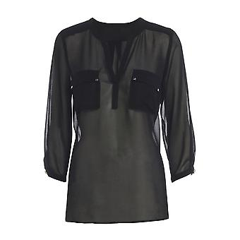 Black V-Neck Chiffon Blouse with Pockets TP545-M