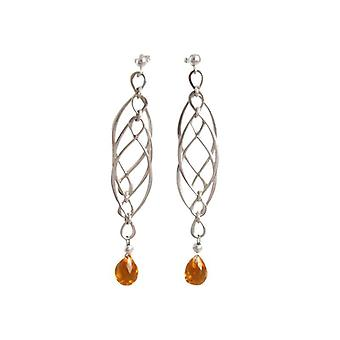 Women's earrings citrine earring solid 925 Silver Golden long earrings