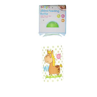 First Steps 250ml Baby Feeding Bottle With Silicone Teat & Green Lid � Horse