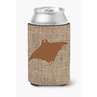 Manta ray Burlap and Brown Can or Bottle Beverage Insulator Hugger