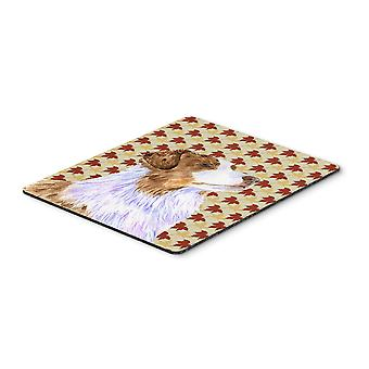 Australian Shepherd Fall Leaves Portrait Mouse Pad, Hot Pad or Trivet
