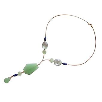 Gemshine - ladies - necklace - gold plated - aquamarine - faceted - blue - green - 60 cm