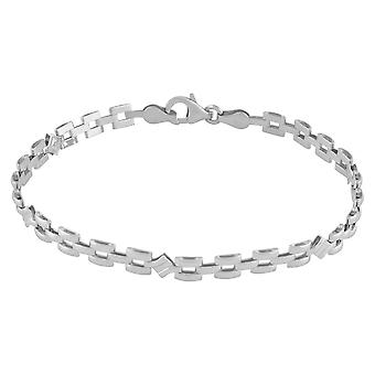 Fine Sterling Silver 925 Womens Classic Panther Link Chain Bracelet Width 5mm