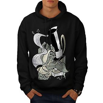Hippie Smoking Men BlackHoodie | Wellcoda