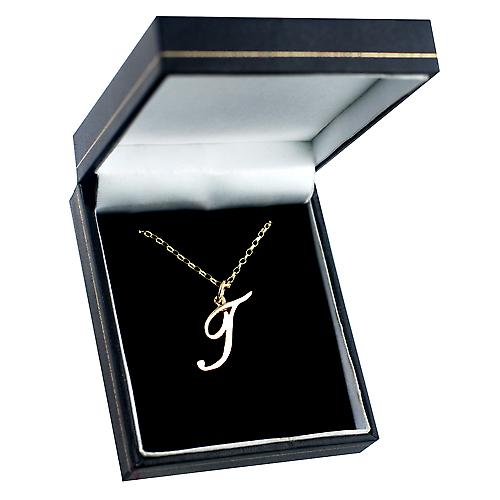 9ct Gold 30x14mm plain Initial T Pendant with a belcher Chain 16 inches Only Suitable for Children