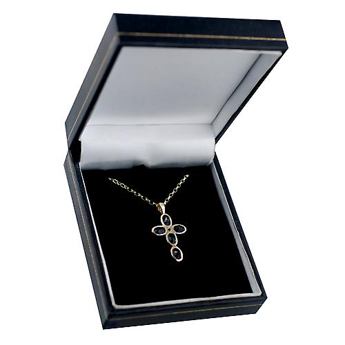 9ct Gold 25x16mm Cross set with 5 Lolite and 1 Pearl on a belcher Chain 16 inches Only Suitable for Children