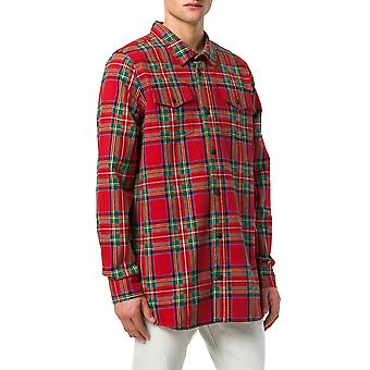 Off-white men's OMGA001S187870129901 red cotton shirt