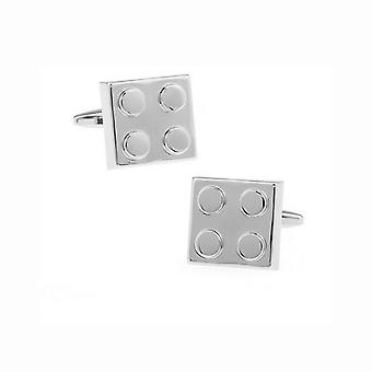 Mens Ladies Cufflinks Silver Lego Build Block Game Toy
