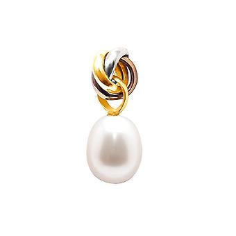 Pendant Pearl of Culture of water sweet white and 3 Gold 750/1000